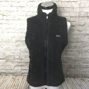 Patagonia black furry reversible vest
